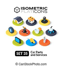 Isometric flat icons set 35 - Isometric flat icons, 3D...