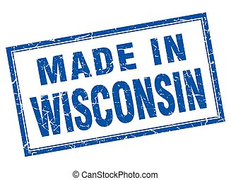 Wisconsin blue square grunge made in stamp