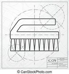 Cleaning brush - Vector classic blueprint of cleaning brush...