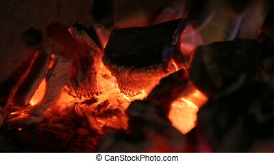 Burning coals, fire