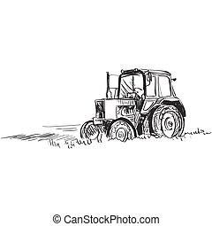 doodle tractor - Tractor Doodle style Isolated in white...