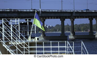 Flag at stern - Ukrainian flag on stern of ship