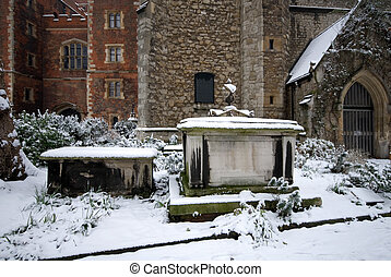 Snow-covered Tombs, Lambeth Palace, London, England -...