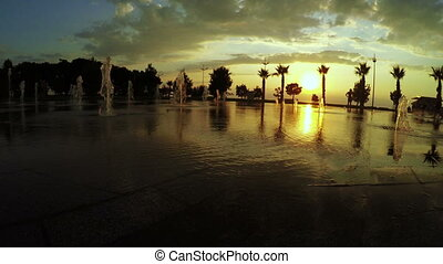 Fountains and sunset Batumi Seafront Boulevard - In Batumi...
