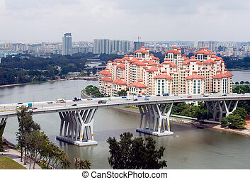 Singapore City Scene - A view of modern buildings and a...