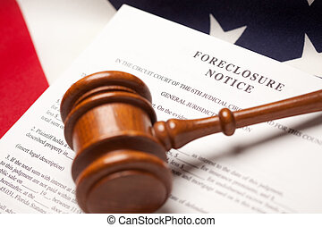 Gavel, American Flag and Foreclosure Notice with Selective...