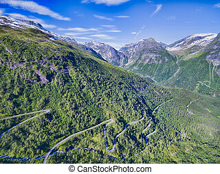 Gaularfjellet mountain pass - National tourist road in...