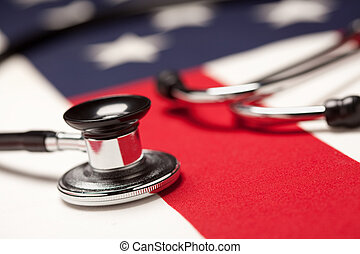 Stethoscope on American Flag with Selective Focus