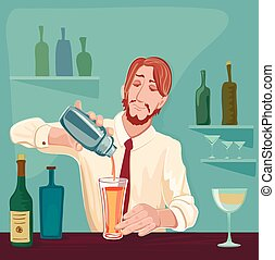 Vector illustration of barman for cocktail party. Excellent...