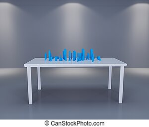 Holographic city on table in white room