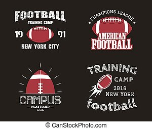 Set of american football team campus badges, logos, labels, insignias in retro color style. Graphic vintage design for t-shirt, web. Colorful print isolated on a dark background. Vector