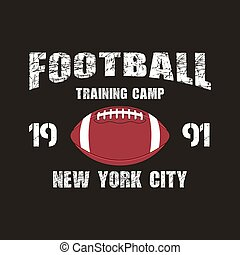 American football New York training camp badge, logo, label, insignia in retro color style. Graphic vintage design for t-shirt, web. Colorful print isolated on a dark background. Vector