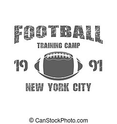 American football New York training camp badge, logo, label, insignia in retro color style. Graphic vintage design for t-shirt, web. Monochrome print isolated on a dark background. Vector
