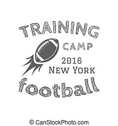 American football training camp logotype, emblem, label, badge in retro color style. Graphic vintage logo design for t-shirt, web. Monochrome print isolated on a dark background. Vector