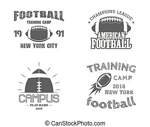 Set of american football team campus badges, logos, labels, insignias in retro monochrome style. Graphic vintage design for t-shirt, web. Colorful print isolated on a dark background. Vector