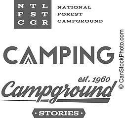 Set of retro camping badges and label logo graphics....