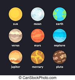 Planets of solar system, vector icons set