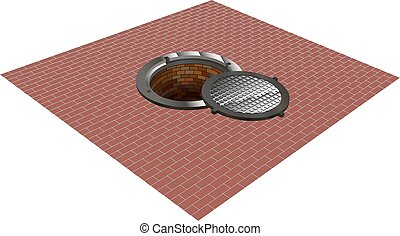 sewer, manhole, tunnel, pit, hole - Open the hatch on the...