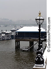 Winter on the River Thames, London - The River Thames,...