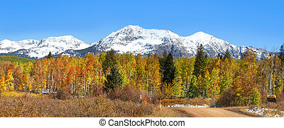 Colorado autumn panorama - Panoramic view of autumn...