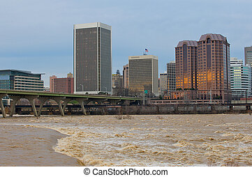 Flooding of the James River in Richmond, Virginia. -...
