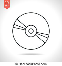 Compact disc icon - Vector outline classic grey compact disc...