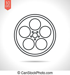 Bobbin icon - Vector outline classic grey retro bobbin icon...