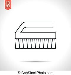 Cleaning brush - Vector outline classic grey cleaning brush...