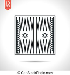 Sport illustration - Vector outline classic grey backgammon...