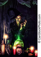 conjure - Attractive witch conjures in the wizarding lair....