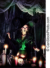 magician - Attractive witch conjures in the wizarding lair...