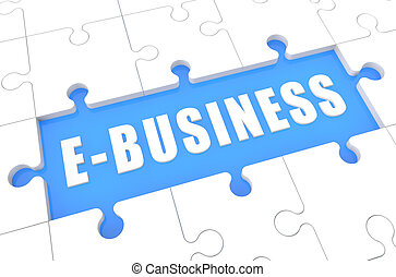 E-Business - puzzle 3d render illustration with word on blue...