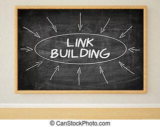 Link Building - 3d render illustration of text on black...