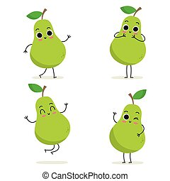 Pear. Cute fruit character set isolated on white