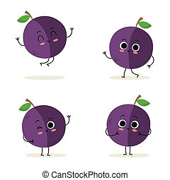 Plum. Cute fruit character set isolated on white