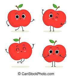 Apple. Cute fruit character set isolated on white