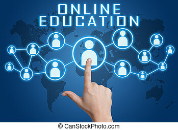 Online Education concept with hand pressing social icons on...