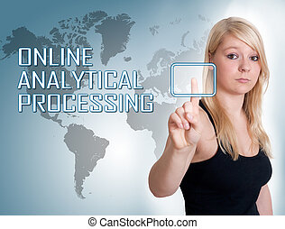 Online Analytical Processing - Young woman press digital...