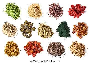 Superfoods - Various superfoods isolated on white background