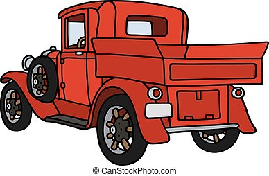 Vintage red pick-up - Hand drawing of a vintage red small...
