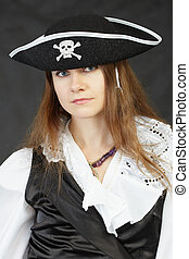 Woman pirate on a black background