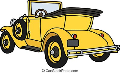 Vintage yellow cabriolet