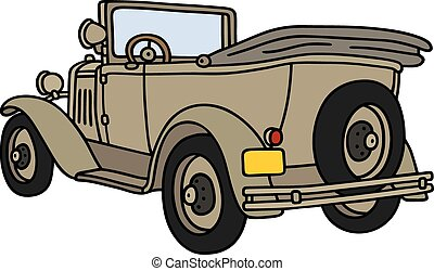 Vintage military open vehicle - Hand drawing of a vintage...