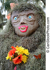 Female Bigfoot Scarecrow - A female Sasquatch scarecrow made...