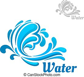 Blue wave with water splashes and drops - Blue wave emblem...