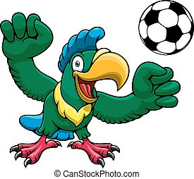 Cartoon parrot player with soccer ball - Happy bright parrot...