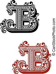 Letter B with calligraphic swirls and dot ornament