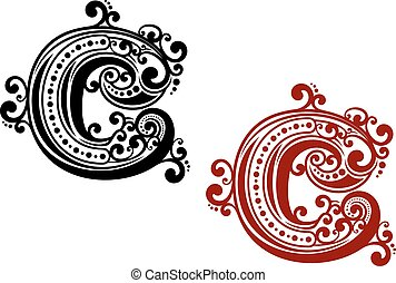 Capital letter C with curly elements