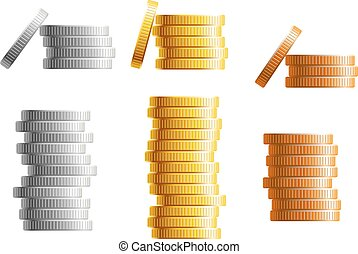 Stacks of gold, silver and bronze coins in different heights...