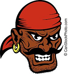 Fierce dark-skinned cartoon pirate character - Fierce...